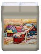 Mont St.hilaire Going Towards The Village Quebec Winter Landscape Paintings Carole Spandau Duvet Cover