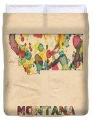Montana Map Vintage Watercolor Duvet Cover