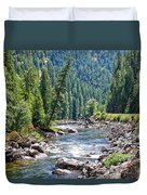 Montana River And Trees Duvet Cover