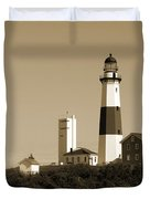 Montauk Point Light In Sepia Duvet Cover