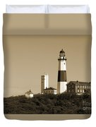 Montauk Point Light In Sepia Duvet Cover