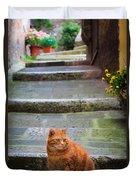 Montepulciano Cat Duvet Cover
