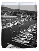 Monterey Marina With Fishing Boats In Slips Sept. 4 1961  Duvet Cover