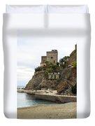 Monterosso Harbor Pier Duvet Cover