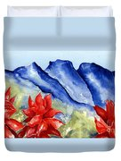 Monterrey Mountains With Red Floral Duvet Cover