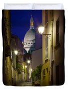Montmartre Street And Sacre Coeur Duvet Cover