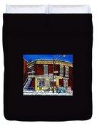 Montreal Art Hockey Paintings Chez Bert Depanneur The Pointe Verdun City Scene Carole Spandau  Duvet Cover