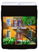 Montreal Art Seeing Red Verdun Wooden Doors And Fire Hydrant Triplex City Scene Carole Spandau Duvet Cover