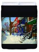 Montreal Art Streets Of Verdun Winter Scenes Winding Staircases Snowscenes Carole Spandau Duvet Cover