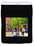 Montreal Art Summer Cafe Scene Rue Laurier Family Day Wagon Ride City Scene Art By Carole Spandau Duvet Cover