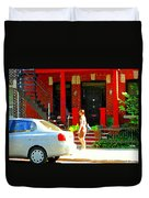 Montreal Art Summer Stroll On A Sunny Morning Colorful Street Verdun City Scene Carole Spandau Duvet Cover
