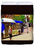 Montreal Bus Scenes Catching The 97 Bus Pontiac Corner Mont Royal Urban Montreal Art Carole Spandau Duvet Cover