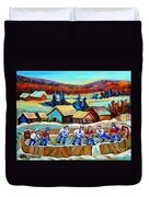 Montreal Memories Rink Hockey In The Country Hockey Our National Pastime Carole Spandau Paintings Duvet Cover