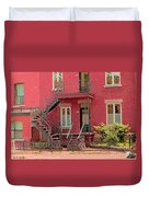 Montreal Memories The Old Neighborhood Timeless Triplex With Spiral Staircase City Scene C Spandau  Duvet Cover