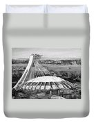 Montreal Olympic Stadium And Olympic Park-home To Biodome And Velodrome-montreal In Black And White Duvet Cover