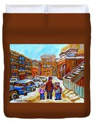 Montreal Paintings Winter Walk Past The Old School Snowy Day City Scene Carole Spandau Duvet Cover