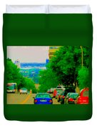 Montreal Skyline Decarie View Of Clock Tower Victoria Pier And Super Hospital Site Carole Spandau Duvet Cover