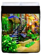 Montreal Staircases Verdun Stairs Duplex Flower Gardens Summer City Scenes Carole Spandau Duvet Cover