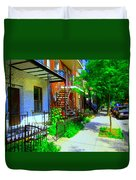 Montreal Stairs Shady Streets Winding Staircases In Balconville Art Of Verdun Scenes Carole Spandau Duvet Cover