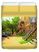 Montreal Stairs Winding Staircases And Sunny Tree Lined Sidewalks Verdun Scenes Carole Spandau  Duvet Cover