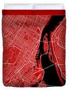 Montreal Street Map - Montreal Canada Road Map Art On Color Duvet Cover