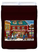 Montreal Winter Hockey At Moishes Duvet Cover