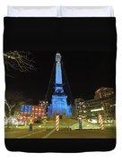 Monument Circle Indianapolis At Night Duvet Cover