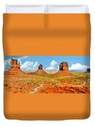 Monument Valley In Spring Panoramic Painting Duvet Cover
