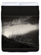 Moody Sunrise With Grasses And Birds Duvet Cover