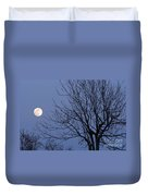 Moon And Bare Tree Duvet Cover
