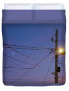 Moon And Wires Duvet Cover