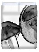 Moon Jellyfish - Black And White Duvet Cover