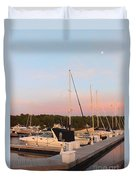 Moon Over Egg Harbor Marina Duvet Cover