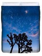 Moon Over Joshua - Joshua Trees During Sunrise In Joshua Tree National Park. Duvet Cover