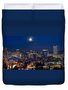 Moon Over Portland Oregon City Skyline At Blue Hour Duvet Cover
