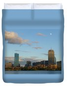Moon Over The Prudential In Boston Duvet Cover
