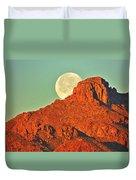 Moon Over Tucson Mountains Duvet Cover