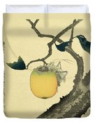 Moon Persimmon And Grasshopper Duvet Cover by Katsushika Hokusai