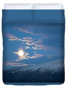 Moon Rise Over The Presidential Range Duvet Cover