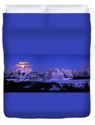 Moon Sets Over Behind The Tetons Panorama Duvet Cover