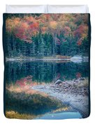 Moon Setting Fall Foliage Reflection Duvet Cover