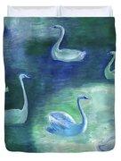 Moon Swans Duvet Cover
