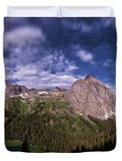 Moonlight Hiking On The Blue Lakes Trail Duvet Cover