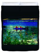 Moonlight Kayak Ride Along The Coastline Of The Lachine Canal Quebec Sea Scenes Carole Spandau Duvet Cover