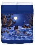 Moonlight Magig-great Horned Owls Duvet Cover