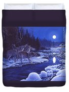 Moonlight Visitors Duvet Cover