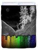 Moonlit Mountainside Behind Rainbow Fence Duvet Cover