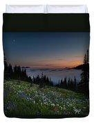 Moonlit Rainier Meadows Sunset Duvet Cover