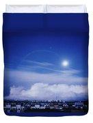Moonrise Over Nova Harfa Duvet Cover
