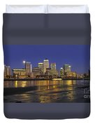 Moonrise Over River Thames Flowing Past Canary Wharf Duvet Cover